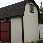 "10′ X 16′ BARN 8′ WALLS ( 6"" BOXED IN OVERHANG AROUND, 3′ X 3′ WINDOW, 4 1/2 TRANSOM WINDOW )"