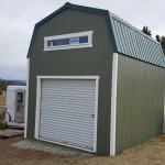 12×16 10′ WALL BARN WITH METAL ROOF AND ROLL UP DOOR